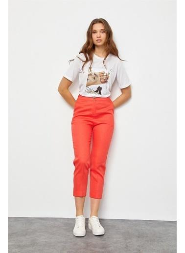 Setre Camel Cepli Keten Pantolon Kırmızı